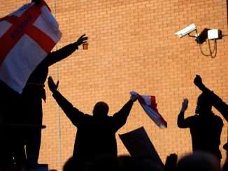 BWPNWF Members of the English Defence League (EDL) congregate outside the Jazz Pub in Preston, England before protesting on November