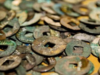Group of ancient Chinese coins.